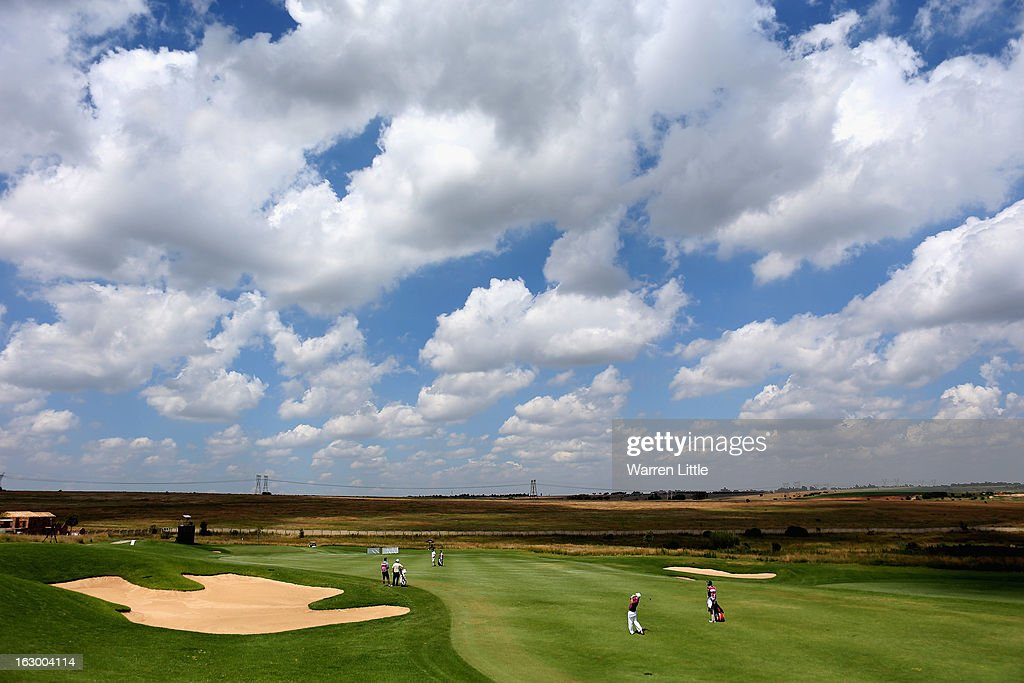 A Andrew Curlewis of South Africa plays into the second green during the final round of the Tshwane Open at Copperleaf Golf & Country Estate on March 3, 2013 in Centurion, South Africa.