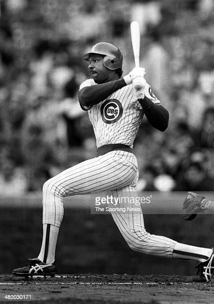Andrew Dawson of the Chicago Cubs bats circa 1980s