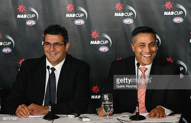 Andrew Demetriou and Ahmed Fahour of the NAB share a laugh at the launch of the 2006 NAB Cup at Telstra Dome February 02 2006 in Melbourne Australia