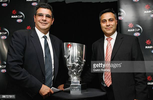 Andrew Demetriou and Ahmed Fahour of the NAB unveil the new NAB Cup at the launch of the 2006 NAB Cup at Telstra Dome February 02 2006 in Melbourne...