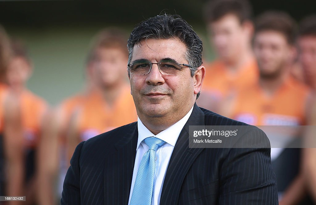 Andrew Demetriou looks on during a GWS Giants AFL media session at Sydney Olympic Park Sports Centre on May 6, 2013 in Sydney, Australia.