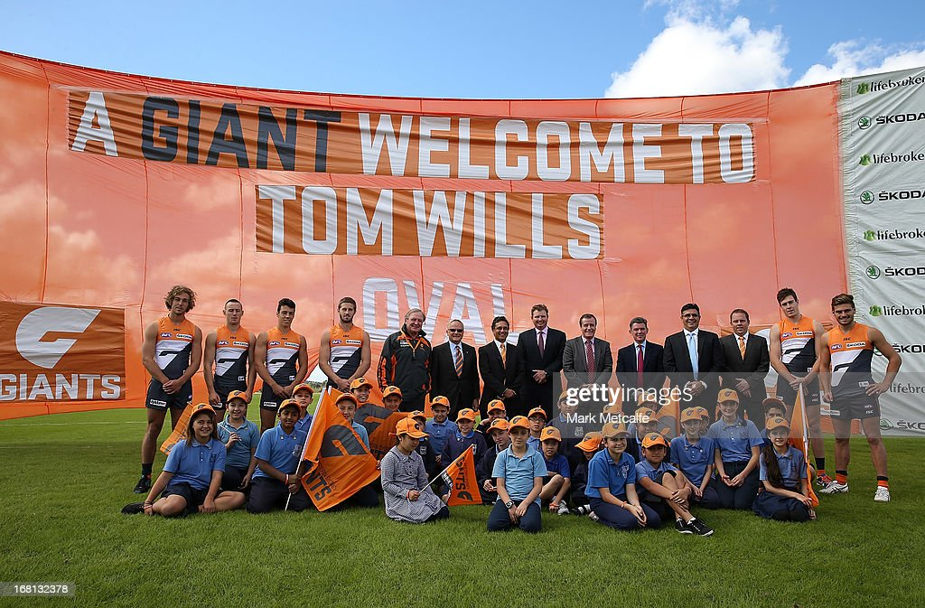 <a gi-track='captionPersonalityLinkClicked' href=/galleries/search?phrase=Andrew+Demetriou&family=editorial&specificpeople=220520 ng-click='$event.stopPropagation()'>Andrew Demetriou</a>, NSW Minister for Sport Graham Annesley, GWS Giants players and officials and local school children pose during a GWS Giants AFL media session at Sydney Olympic Park Sports Centre on May 6, 2013 in Sydney, Australia.