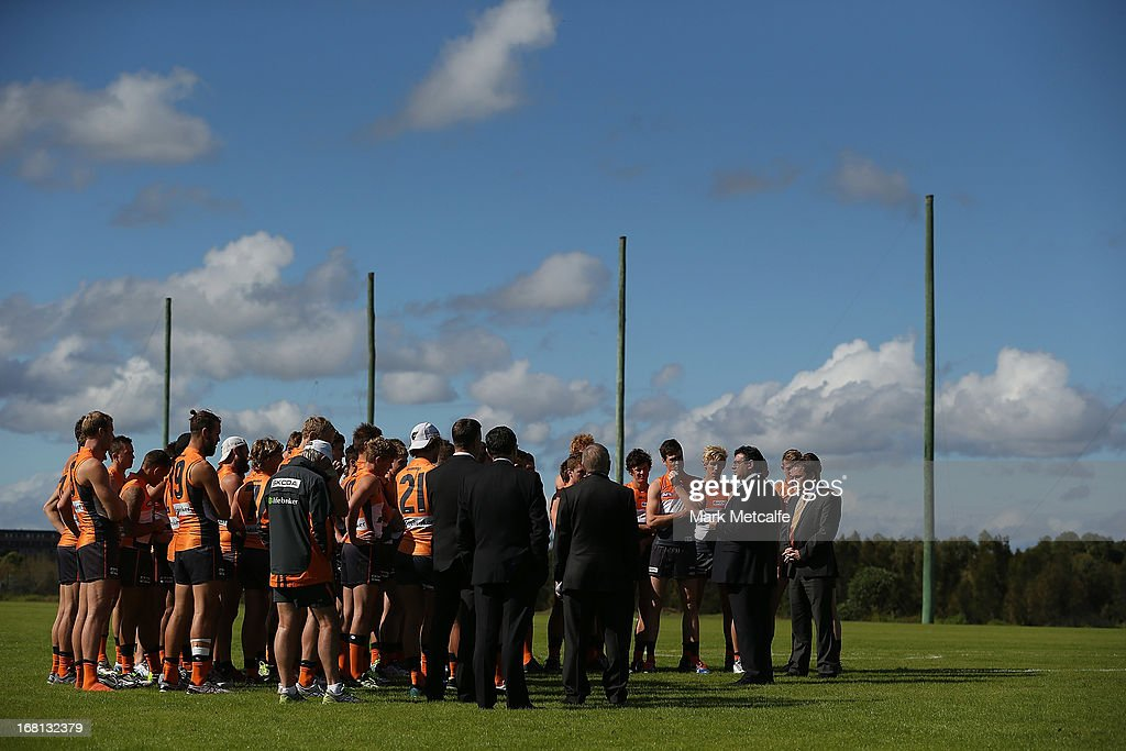 <a gi-track='captionPersonalityLinkClicked' href=/galleries/search?phrase=Andrew+Demetriou&family=editorial&specificpeople=220520 ng-click='$event.stopPropagation()'>Andrew Demetriou</a> speaks to Giants players and staff before a GWS Giants AFL media session at Sydney Olympic Park Sports Centre on May 6, 2013 in Sydney, Australia.