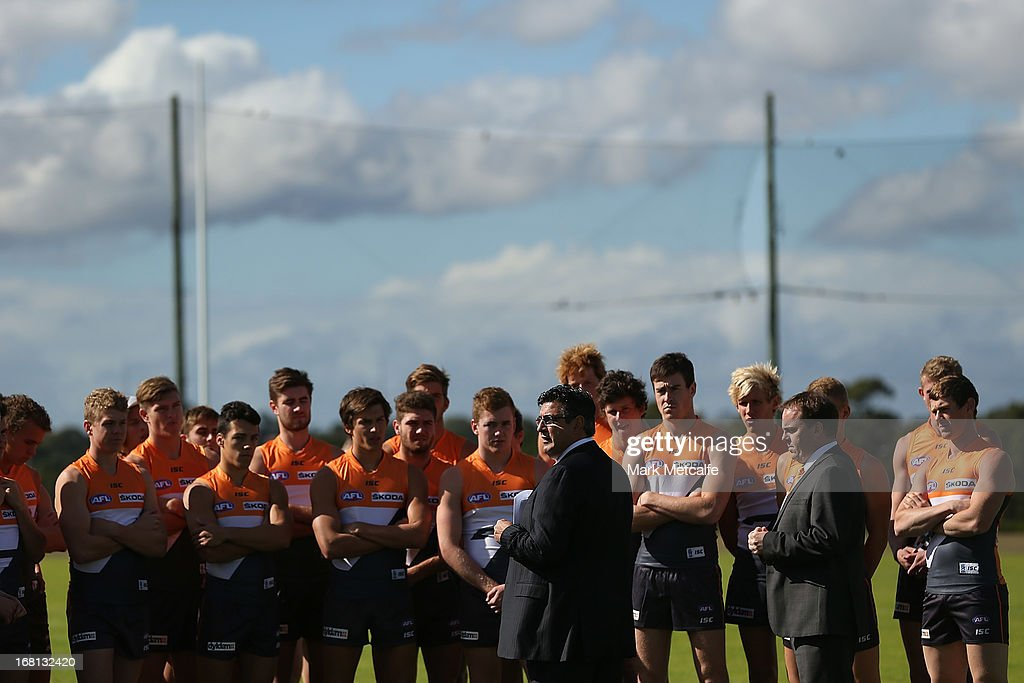Andrew Demetriou speaks to Giants players and staff before a GWS Giants AFL media session at Sydney Olympic Park Sports Centre on May 6, 2013 in Sydney, Australia.