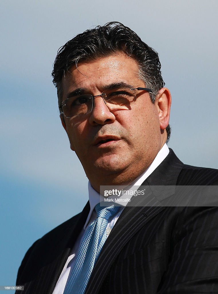Andrew Demetriou speaks to the media during a GWS Giants AFL media session at Sydney Olympic Park Sports Centre on May 6, 2013 in Sydney, Australia.