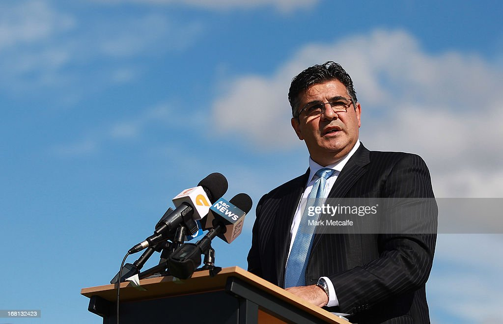 <a gi-track='captionPersonalityLinkClicked' href=/galleries/search?phrase=Andrew+Demetriou&family=editorial&specificpeople=220520 ng-click='$event.stopPropagation()'>Andrew Demetriou</a> speaks to the media during a GWS Giants AFL media session at Sydney Olympic Park Sports Centre on May 6, 2013 in Sydney, Australia.