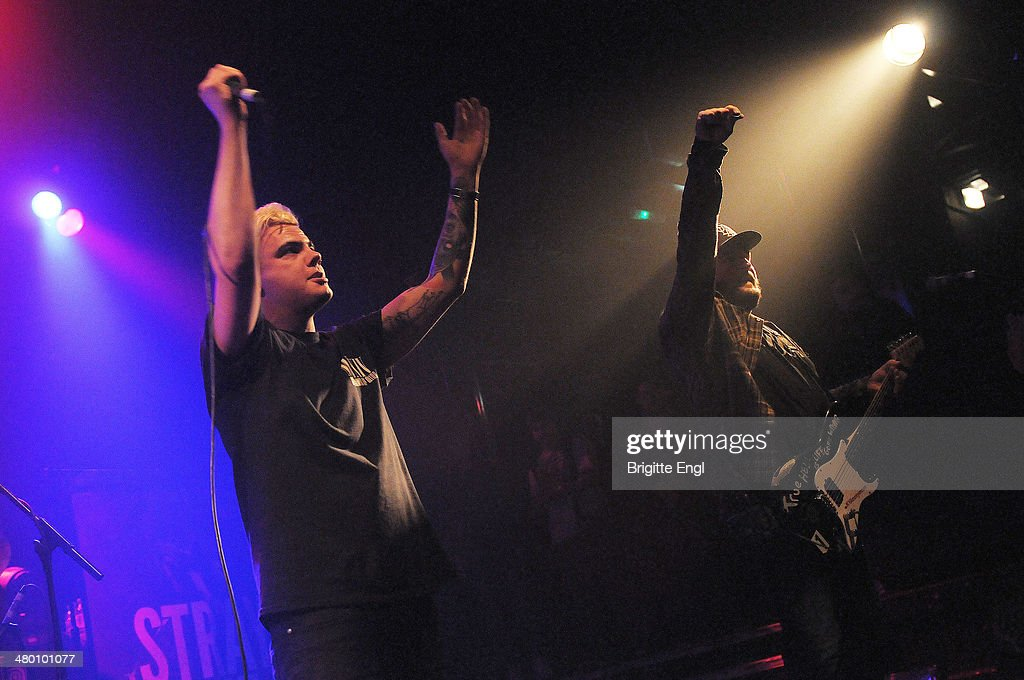 Andrew Dijorio and Thomas Williams of Stray from the Path performs on stage at KOKO on March 14, 2014 in London, United Kingdom.