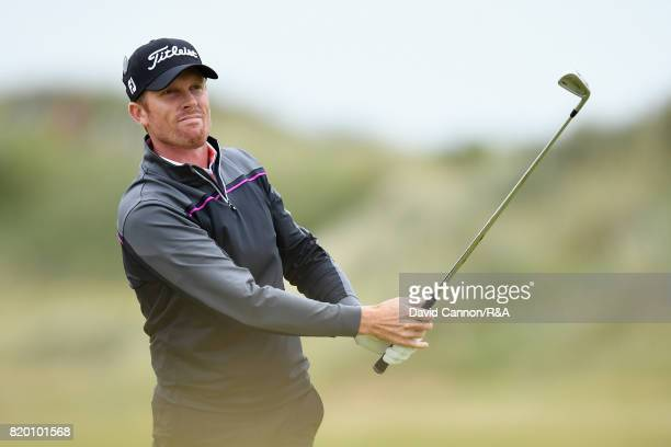 Andrew Dodt of Australia hits his second shot on the 2nd hole during the second round of the 146th Open Championship at Royal Birkdale on July 21...