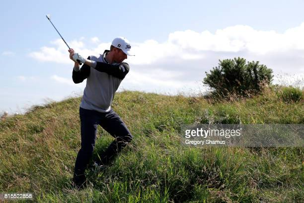 Andrew Dodt of Australia hits his second shot on the 5th hole during the final round of the AAM Scottish Open at Dundonald Links Golf Course on July...