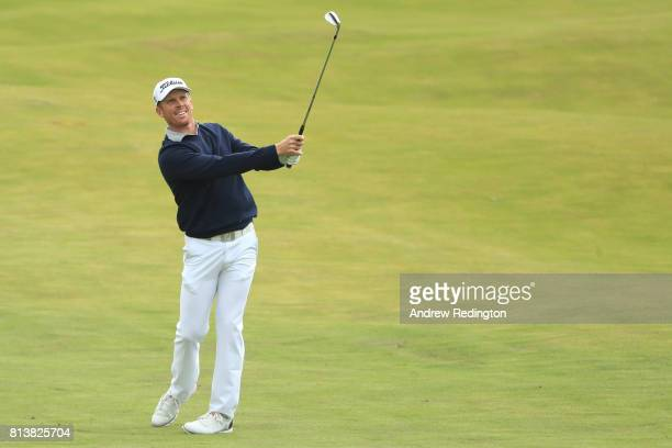 Andrew Dodt of Australia hits his third shot on the 18th hole during day one of the AAM Scottish Open at Dundonald Links Golf Course on July 13 2017...