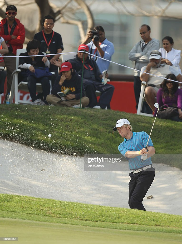 Andrew Dodt of Australia in action during the Final Round of the Avantha Masters held at The DLF Golf and Country Club on February 14 2010 in New...