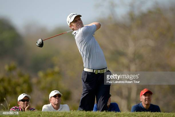 Andrew Dodt of Australia plays a shot during round four of the Thailand Classic at Black Mountain Golf Club on February 15 2015 in Hua Hin Thailand