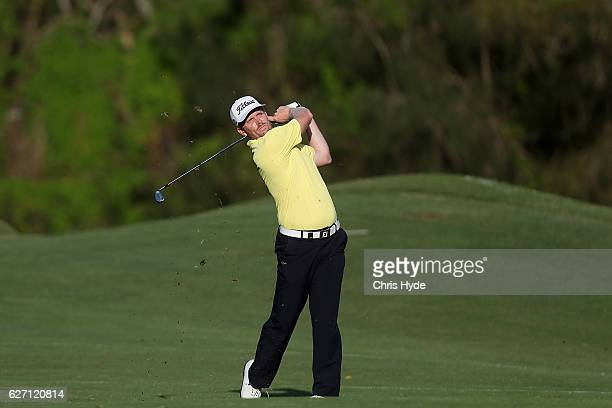 Andrew Dodt of Australia plays his second shot during day two of the 2016 Australian PGA Championship at RACV Royal Pines Resort on December 2 2016...