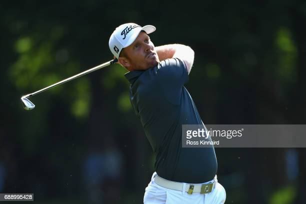 Andrew Dodt of Australia plays his second shot on 17th hole during day three of the BMW PGA Championship at Wentworth on May 27 2017 in Virginia...