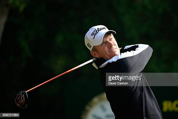Andrew Dodt of Australia plays his tee shot at the par 5 10th hole during the second round of the 2016 Abu Dhabi HSBC Golf Championship at the Abu...