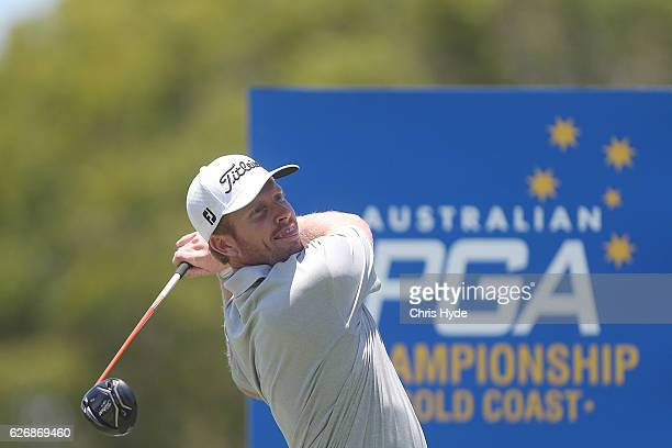 Andrew Dodt of Australia tees off during day one of the 2016 Australian PGA Championship at RACV Royal Pines Resort on December 1 2016 in Gold Coast...