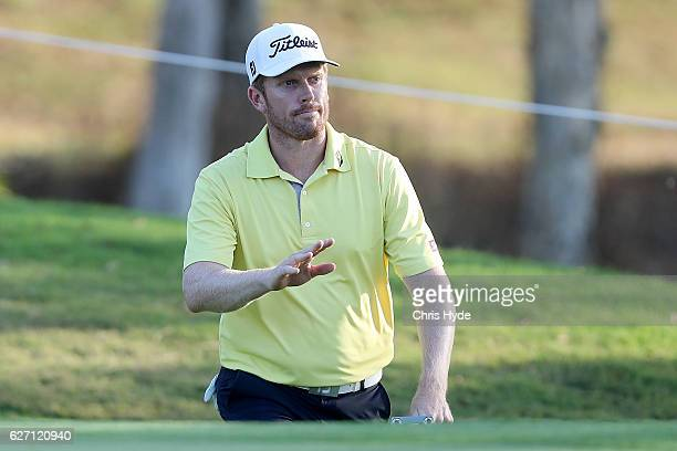 Andrew Dodt of Australia waves to the crowd during day two of the 2016 Australian PGA Championship at RACV Royal Pines Resort on December 2 2016 in...