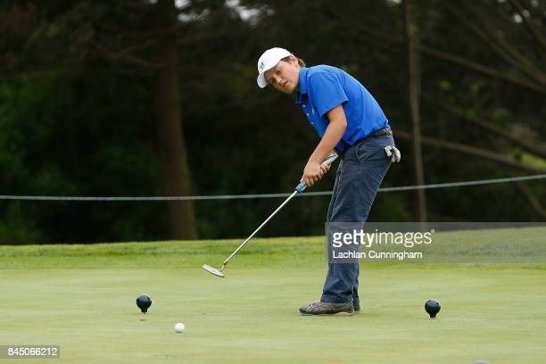Andrew Doll competes in the Putt competition of the boys 1213 years division during the Drive Chip and Putt Western Region Qualifying tournament at...