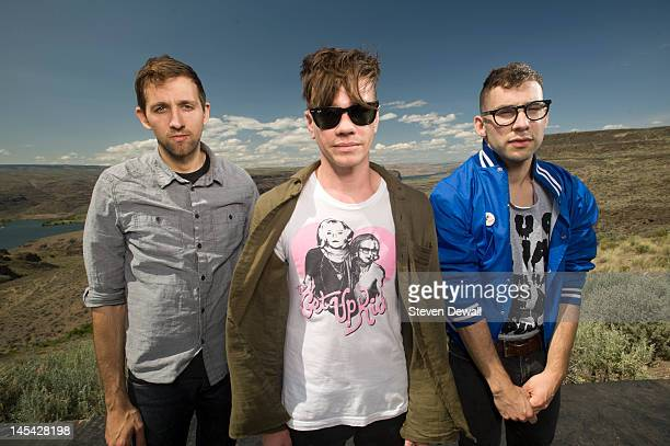 Andrew Dost Nate Ruess and Jack Antonoff of Fun pose for a portrait backstage at the Gorge Amphitheater on May 28 2012 in George Washington