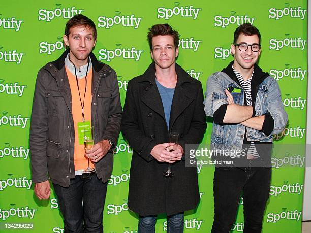 Andrew Dost Nate Ruess and Jack Antonoff of the band Fun attend Spotify knocks it out of the park at Stephen Weiss Studio on November 30 2011 in New...