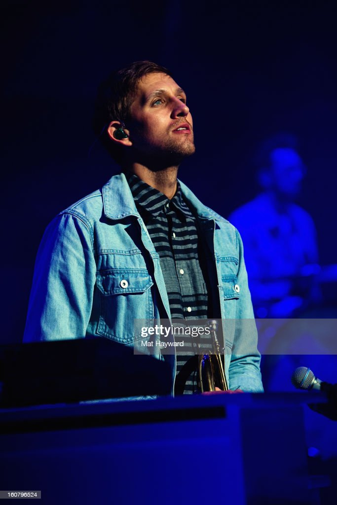 Andrew Dost of fun. performs at Paramount Theatre on February 5, 2013 in Seattle, Washington.