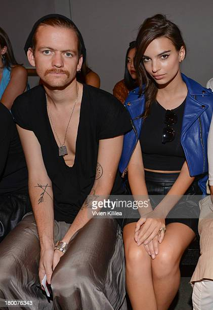 Andrew Dryden and model Emily Ratajkowski attend the Jeremy Laing show during MercedesBenz Fashion Week Spring 2014 on September 8 2013 in New York...