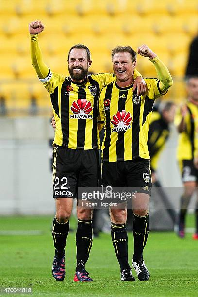 Andrew Durante and Ben Sigmund of the Phoenix celebrate the win after the final whistle during the round 26 ALeague match between the Wellington...
