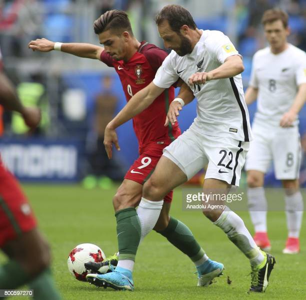 Andrew Durante of New Zealand in action against Andre Silva of Portugal during the Confederations Cup 2017 match between New Zealand and Portugal at...