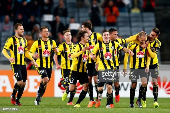 Andrew Durante of the Phoenix celebrates his goal during the Football United New Zealand Tour match between the Wellington Phoenix and West Ham...