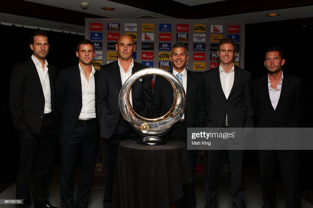 Andrew Durante of the Wellington Phoenix, Jason Culina of Gold Coast United, Kevin Muscat of the Melbourne Victory, Steve Corica of Sydney FC, Matt Thompson of the Newcastle Jets and Victor Sikora of Perth Glory pose with A-League trophy during the 2010 A-League Finals Series Launch at the Sheraton on the Park Hotel on February 15, 2010 in Sydney, Australia.