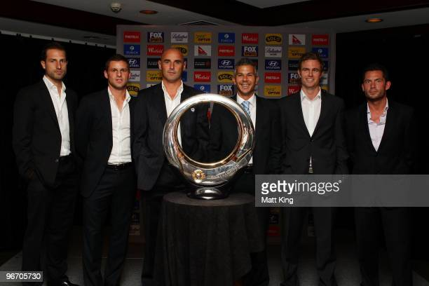 Andrew Durante of the Wellington Phoenix Jason Culina of Gold Coast United Kevin Muscat of the Melbourne Victory Steve Corica of Sydney FC Matt...