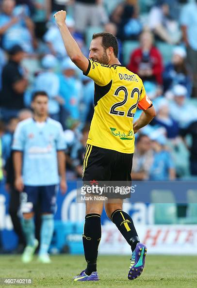 Andrew Durante of Wellington celebrates winning the round 12 ALeague match between Sydney FC and Wellington Phoenix at Allianz Stadium on December 21...