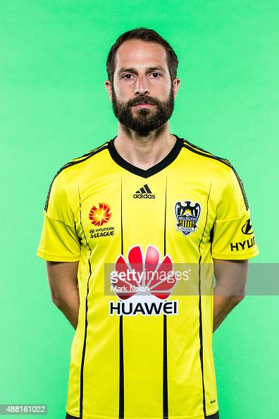 Andrew Durante poses during the Wellington Phoenix 2015/16 ALeague headshots session at Fox Sports Studios on September 14 2015 in Sydney Australia