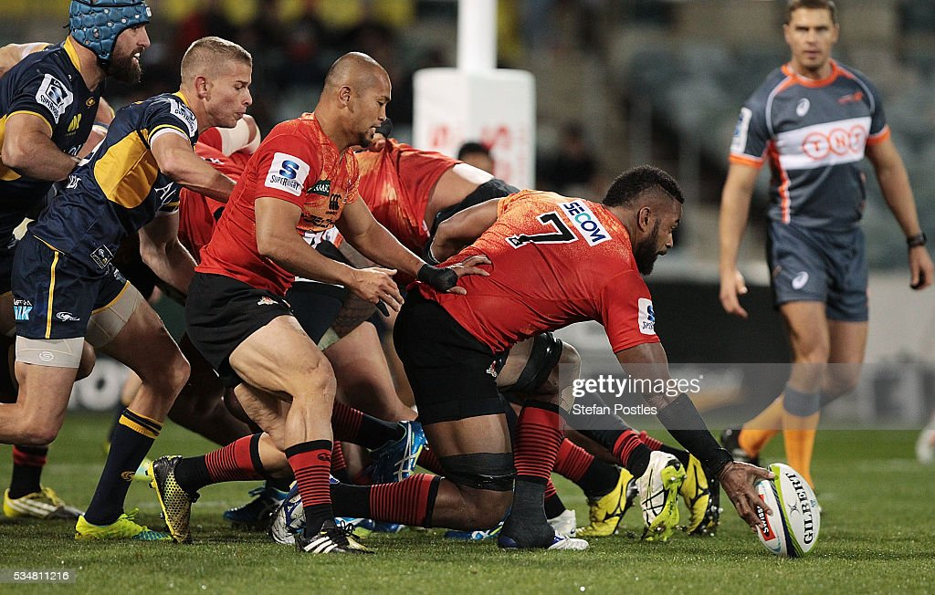 <a gi-track='captionPersonalityLinkClicked' href=/galleries/search?phrase=Andrew+Durutalo&family=editorial&specificpeople=8900536 ng-click='$event.stopPropagation()'>Andrew Durutalo</a> of the Sunwolves taps the ball on during the round 14 Super Rugby match between the Brumbies and the Sunwolves at GIO Stadium on May 28, 2016 in Canberra, Australia.