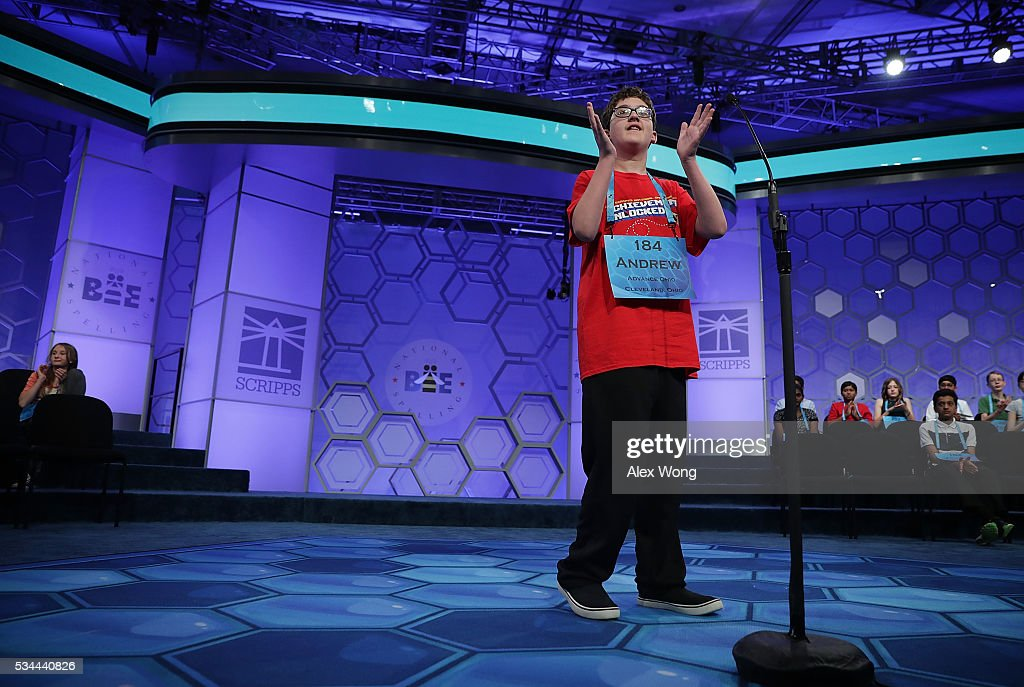 Andrew Dylan France of Chagrin Falls, Ohio, participates in the finals of the 2016 Scripps National Spelling Bee May 26, 2016 in National Harbor, Maryland. Students from across the country gathered to competed for top honor of the annual spelling championship.