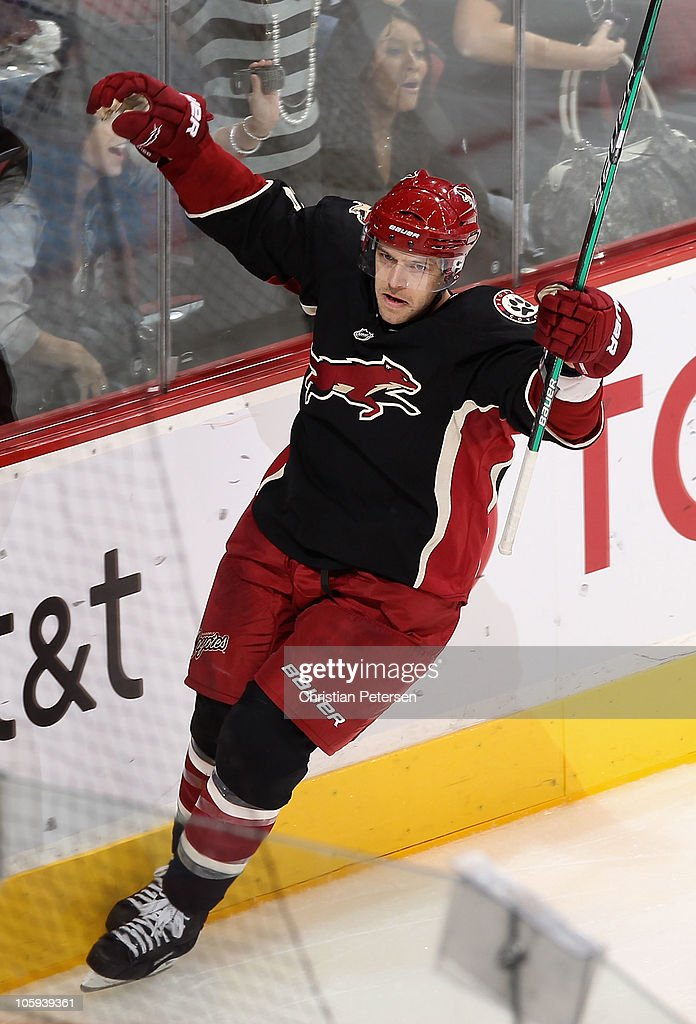 Andrew Ebbett of the Phoenix Coyotes celebrates after scoring a short handed second period goal against the Los Angeles Kings during the NHL game at...