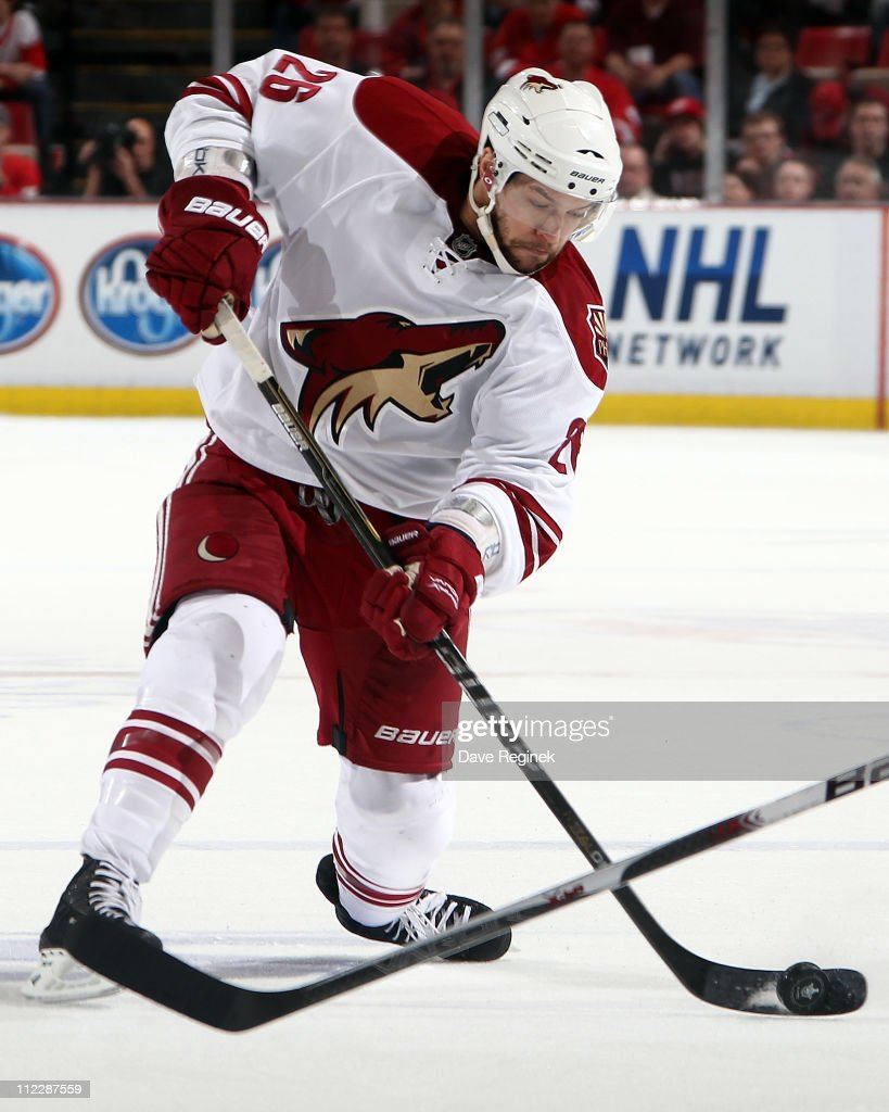 Andrew Ebbett of the Phoenix Coyotes takes a slap shot in Game Two of the Western Conference Quarterfinals during the 2011 NHL Stanley Cup Playoffs...
