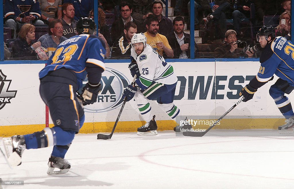 Andrew Ebbett of the Vancouver Canucks handles the puck against the St Louis Blues in an NHL game on April 16 2013 at Scottrade Center in St Louis...