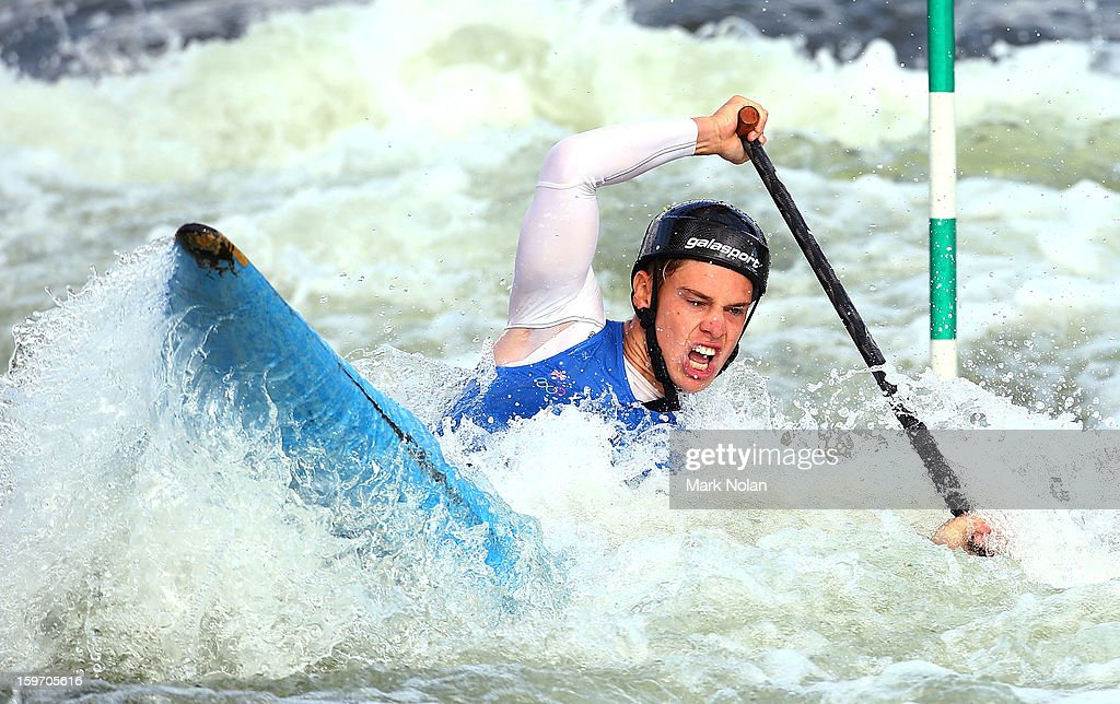 Andrew Eckhardt of Australia competes in the Men's Canoe during day four of the Australian Youth Olympic Festival at the Penrith White Water Stadium on January 19, 2013 in Sydney, Australia.