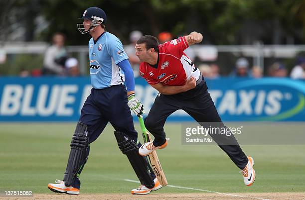 Andrew Ellis of Canterbury bowls during the HRV Cup match between the Auckland Aces and Canterbury Wizards at Colin Maiden Park on January 22 2012 in...