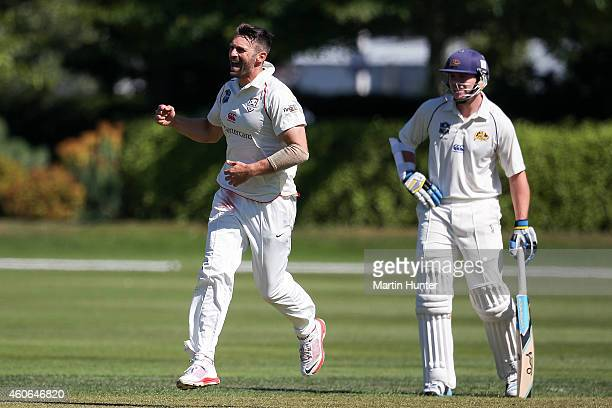 Andrew Ellis of Canterbury celebrates the wicket of Aaron Redmond of Otago during the Plunket Shield match between Otago and Canterbury at Rangiora...