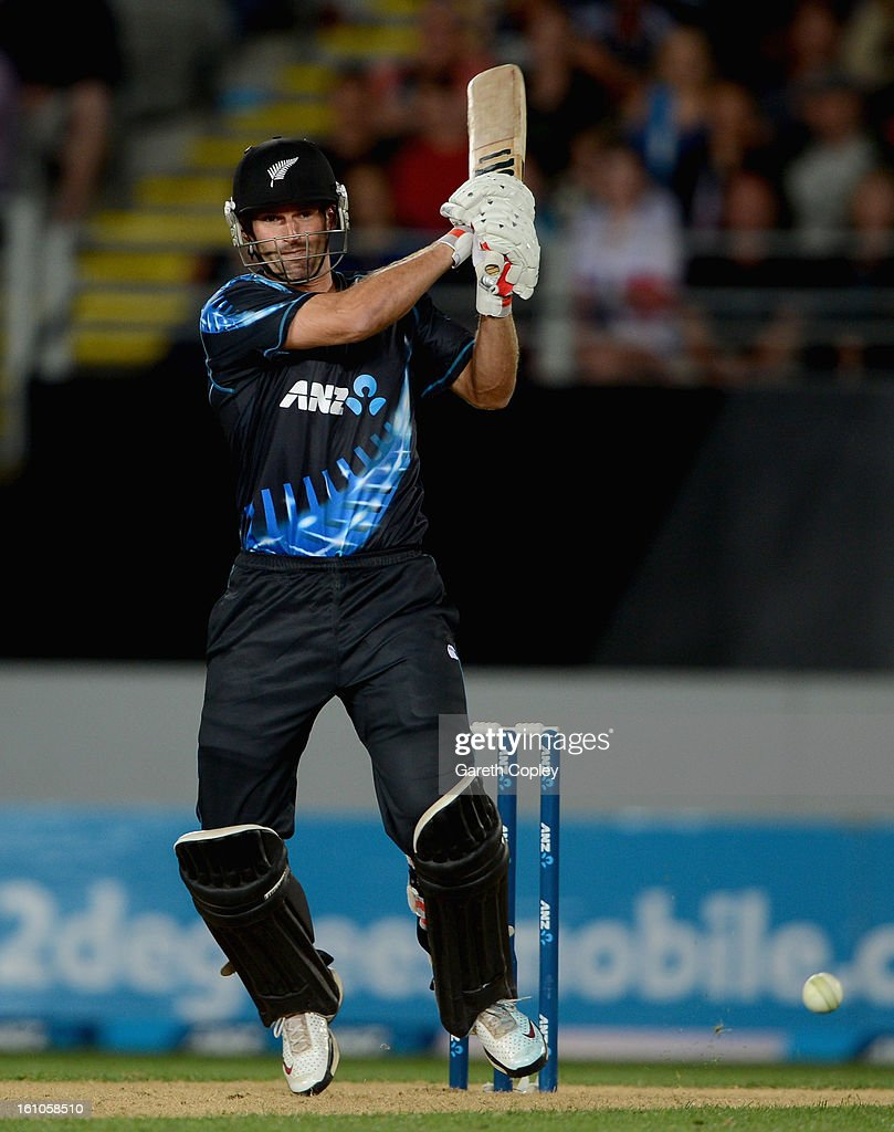 Andrew Ellis of New Zealand bats during the 1st T20 International between New Zealand and England at Eden Park on February 9, 2013 in Auckland, New Zealand.