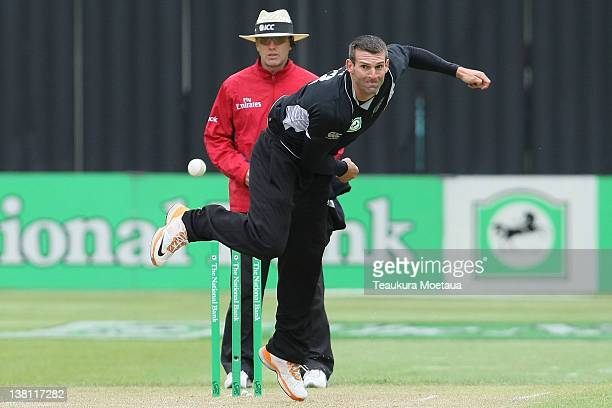Andrew Ellis of New Zealand bowls during game one of the International One Day Series between New Zealand and Zimbabwe at University Oval on February...