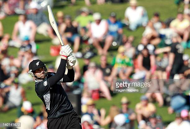 Andrew Ellis of New Zealandbats during the One Day International match between New Zealand and South Africa at McLean Park on February 29 2012 in...