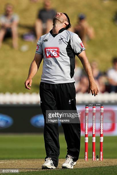 Andrew Ellis of South Island reacts after bowling during the Island of Origin Twenty20 at Basin Reserve on February 28 2016 in Wellington New Zealand