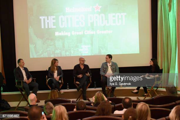 Andrew Essex Tara Rush Joshua David Archie Lee Coates IV and Johanna Greenbaum speak on stage at The Cities Project by Heineken on April 22 2017 in...