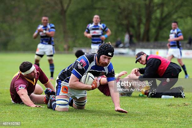 Andrew Evans of Wanganui scores a try during the Lochore Cup Semi Final match between King Country and Wanganui on October 18 2014 in Te Kuiti New...