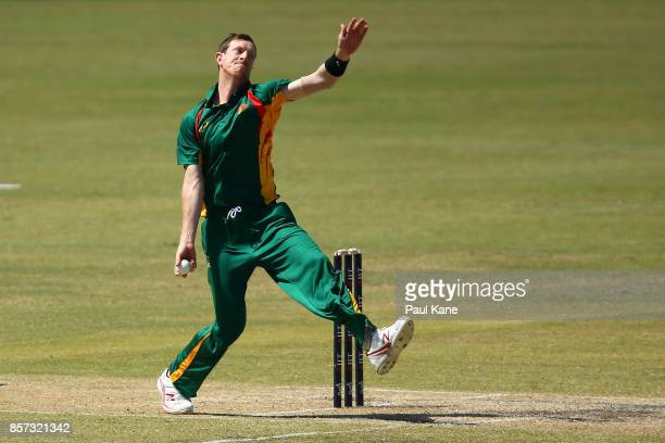 Andrew Fekete of the Tigers bowls during the JLT One Day Cup match between Victoria and Tasmania at WACA on October 4 2017 in Perth Australia