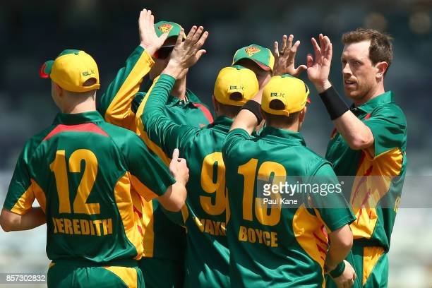 Andrew Fekete of the Tigers celebrates the wicket of Marcus Harris of the Bushrangers during the JLT One Day Cup match between Victoria and Tasmania...