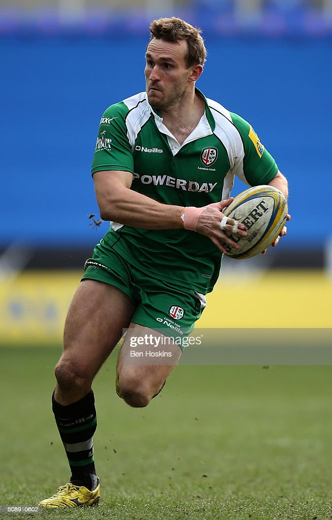 Andrew Fenby of London Irish in action during the Aviva Premiership match between London Irish and Worcester Warriors at Madejski Stadium on February 7, 2016 in Reading, England.